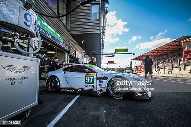 Pro class Aston Martin Racing Aston Martin Vantage V8 of Darren Turner / stefan Mucke / Bruno Senna in the garage before race start of Round 2 of the...