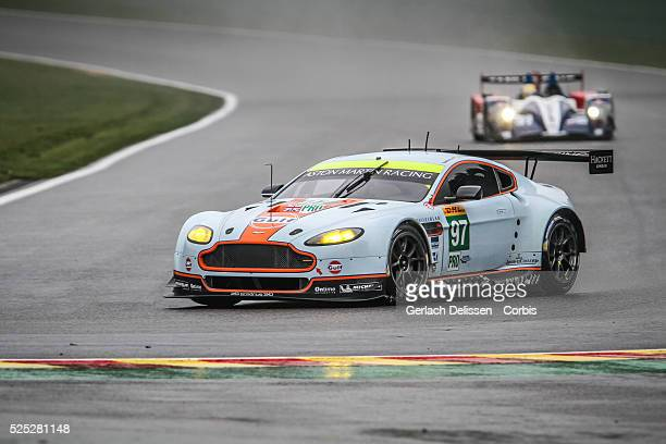 Pro class Aston Martin Racing Aston Martin Vantage V8 of Darren Turner / stefan Mucke / Bruno Senna in action during Free Practice 1 of Round 2 of...