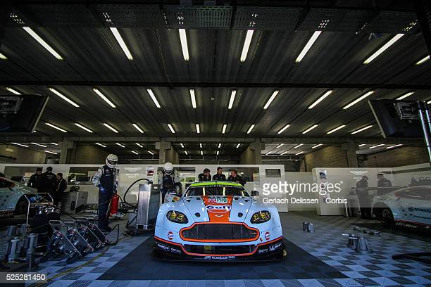 Pro class Aston Martin Racing Aston Martin Vantage V8 of Darren Turner / stefan Mucke / Bruno Senna in the garage before race start of Round 2 of the...