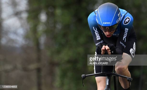 NTT Pro Cycling Austria's rider Michael Gogl competes during the 155 km individual time trial 4th stage of the 78th Paris Nice cycling race stage...