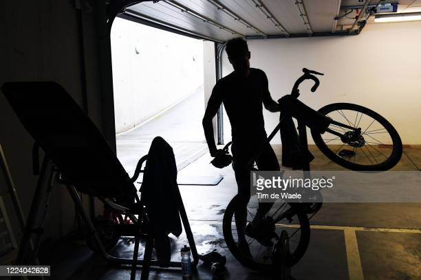 Pro cyclist Jacob Fuglsang of Denmark and Team Astana trains in isolation at home during Covid-19 lockdown on May 09, 2020 in Luxembourg, Luxembourg.
