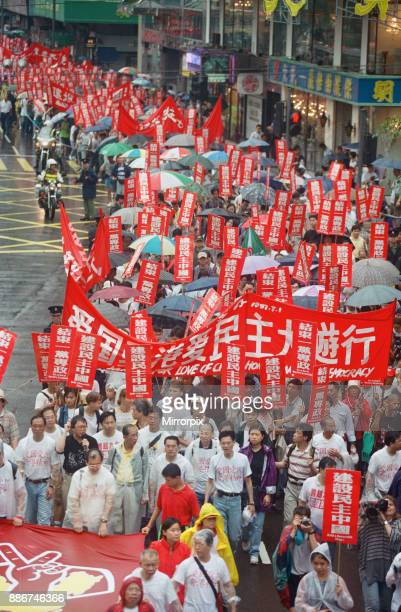 Pro Democracy demonstration on the streets of Hong Kong shortly before the official handover from Britain to China June 1997