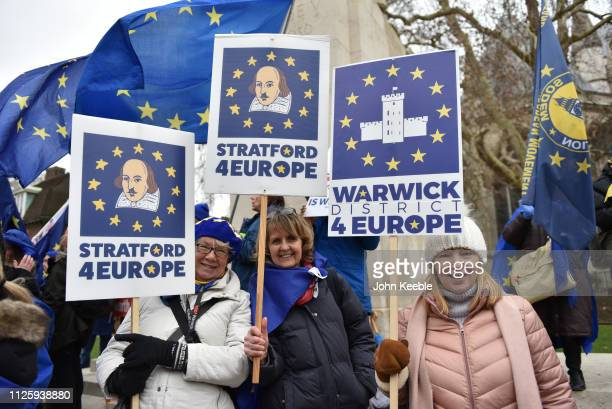 "Pro EU supporters hold up placards saying ""Stratford 4 Europe"" and Warwick district for Europe"" outside the Houses of Parliament on January 29, 2019..."