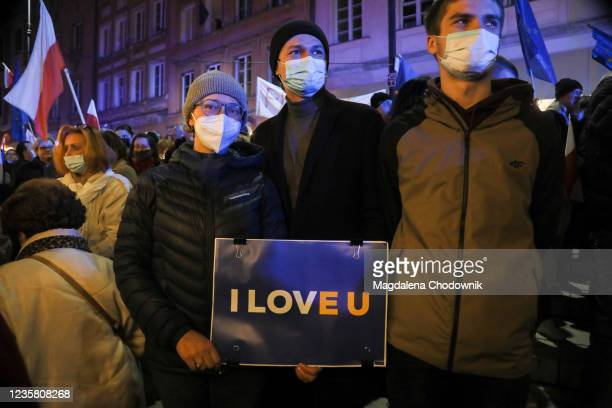 Pro Europe protesters gather at Plac Zamkowy, in Warsaw's Old Town, after the Constitutional Tribunal ruled Polish constitution has primacy over EU...