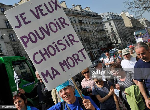Pro euthanasia marchers in Paris demonstrate to legalize the ending of a life in order to relieve pain and suffering This demonstration march...