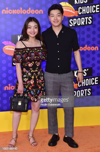 Pro figure skaters Maia Shibutani and Alex Shibutani attend Nickelodeon Kids' Choice Sports Awards 2018 at Barker Hangar on July 19 2018 in Santa...
