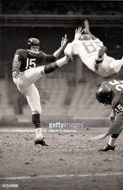 Pro Football Chicago Bears QB Ed Brown in action making punt vs New York Giants Bronx NY