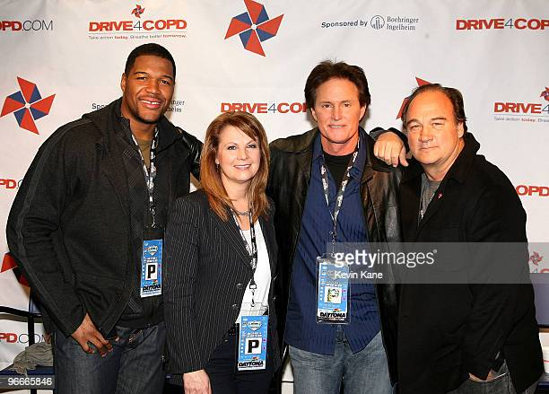 Pro Football great Michael Strahan Country Music singer Patty Loveless Olympic Gold Medalist Bruce Jenner and Actor Jim Belushi during press...