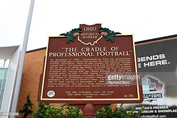 Pro Football Hall of Fame Historical Marker on June 20 2015 in Canton Ohio