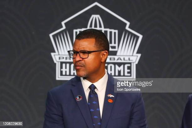 Pro Football Hall of Fame member Steve Atwater during the Hall of Fame Press conference during the NFL Honors on February 1 2020 at the Adrienne...