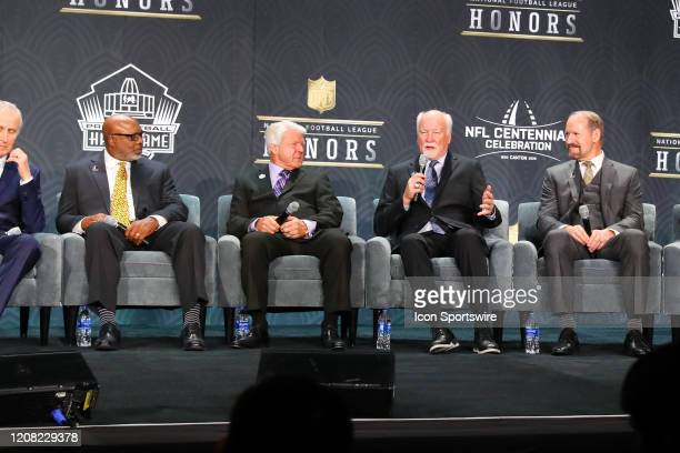 Pro Football Hall of Fame members Donnie Shell Jimmie Johnson Cliff Harris and Bill Cowher during the Hall of Fame Press conference during the NFL...