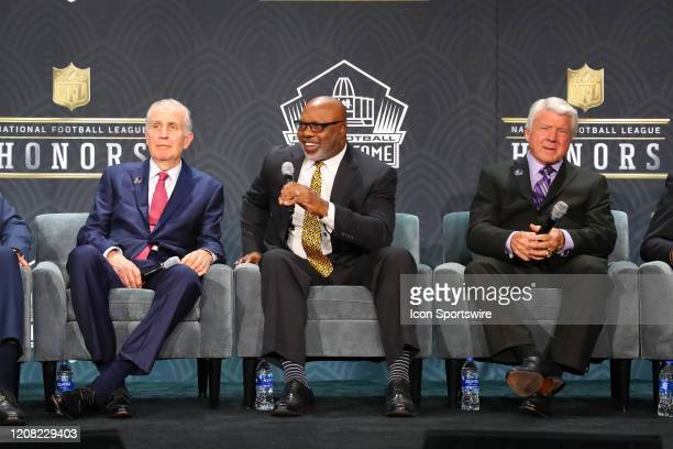 Pro Football Hall of Fame members Paul Tagliabue Donnie Shell and Jimmie Johnson during the Hall of Fame Press conference during the NFL Honors on...