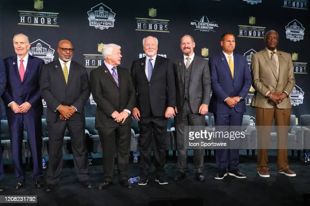 Pro Football Hall of Fame members Paul Tagliabue Donnie Shell Jimmie Johnson Cliff Harris Bill Cowher Jim Covert and Harold Carmichael during the...