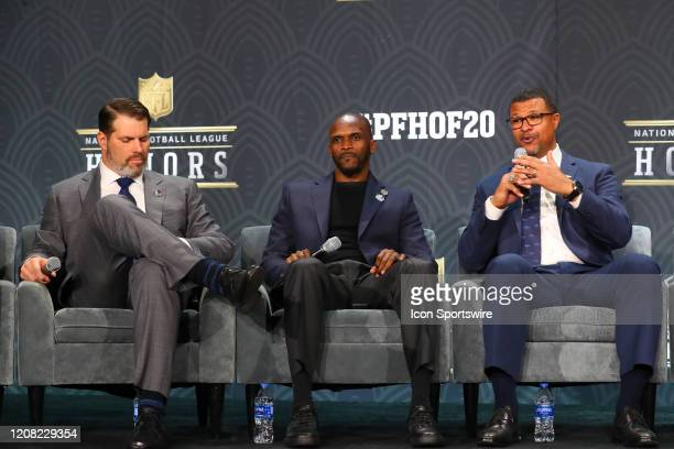 Pro Football Hall of Fame members Steve Hutchinson Isaa Bruce and Steve Atwater during the Hall of Fame Press conference during the NFL Honors on...