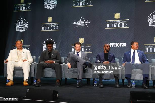 Pro Football Hall of Fame members Troy PolamaluEdgerrin James Steve Hutchinson Isaac Bruce and Steve Atwater during the Hall of Fame Press conference...
