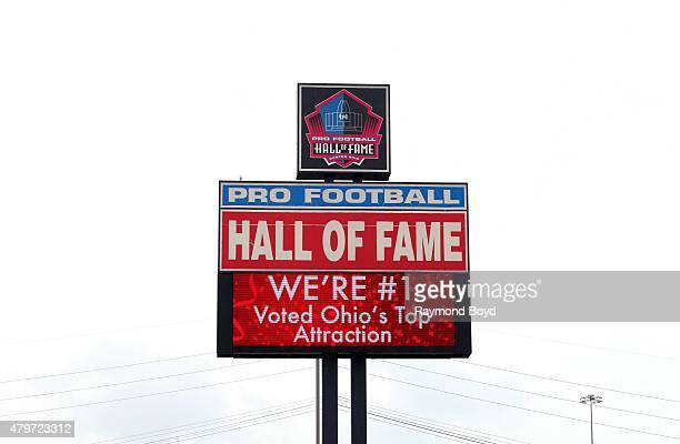 Pro Football Hall of Fame signage on June 20, 2015 in Canton, Ohio.