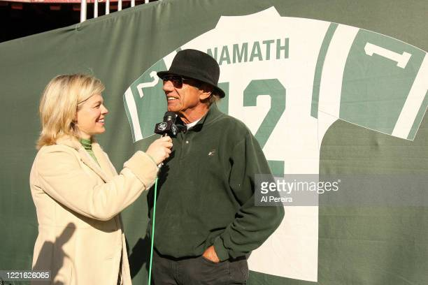 Pro Football Hall of Famer and New York Jets alumni Joe Namath is interviewed by sideline reporter Karen Keyes when he attends the New York Jets vs...