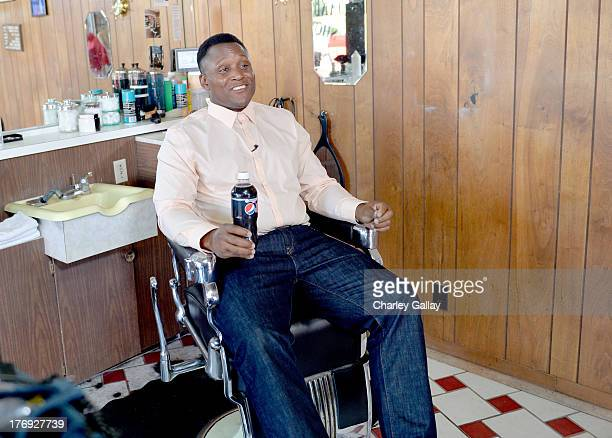 Pro Football Hall of Famer Barry Sanders on set during a Pepsi MAX commercial for 'Disappearing Sanders' on July 29 2013 in Los Angeles California