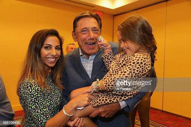Pro Football Hall of Famer Joe Namath and his daughter Jessica and granddaughter Jemma attend the March Of Dimes celebrity casino party at Long...