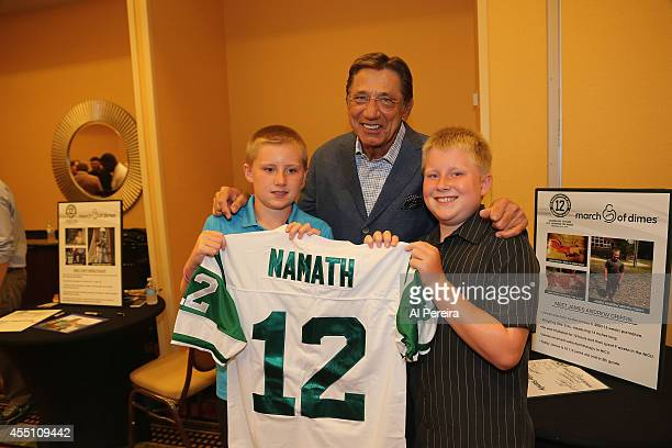 Pro Football Hall of Famer Joe Namath visits with a Marach of DImes Ambassador Family when he attends the March Of Dimes celebrity casino party at...