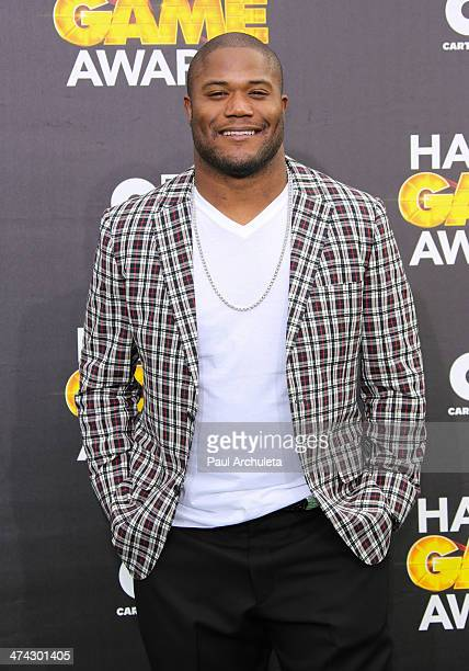 Pro Football Player Michael Robinson attends the Cartoon Network's Hall Of Game Awards at Barker Hangar on February 15 2014 in Santa Monica California