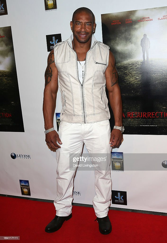 Pro football player T. J. Slaughter attends the premiere of 'A Resurrection' at ArcLight Sherman Oaks on March 19, 2013 in Sherman Oaks, California.