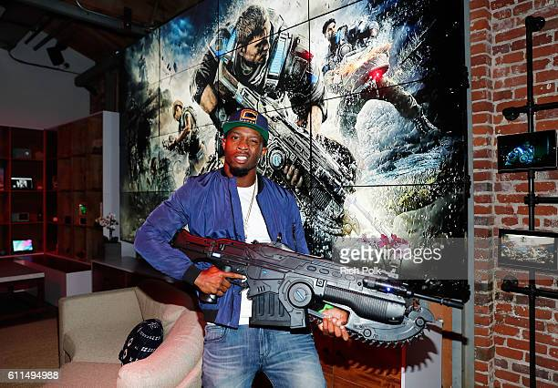 Pro football player Tavon Austin attend the Nas Todd Gurley and LA Rams Host Xbox Gears of War 4 launch event at The Microsoft Lounge on September 29...