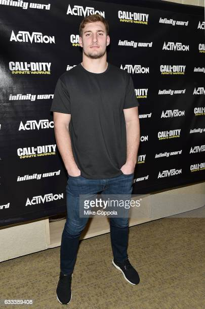 Pro football players Golden Tate and Joey Bosa play Call of Duty: Infinite Warfare Sabotage DLC with Hike the Gamer on February 1, 2017 in Houston,...