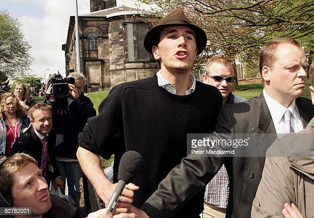 Pro fox hunting campaigner Otis Ferry son of musician Bryan Ferry shouts as Prime Minister Tony Blair arrives at All Saints Church on May 3 in...