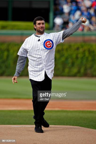 Pro golfer Bubba Watson throws out a ceremonial first pitch before the game between the Chicago Cubs and the Cleveland Indians at Wrigley Field on...
