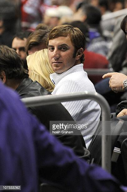 PGA pro golfer Dustin Johnson attends the NHL game between the Detroit Red Wings and the Los Angeles Kings at Staples Center on December 4 2010 in...