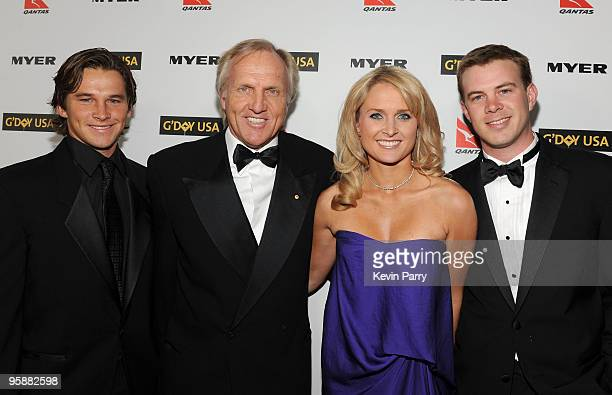 Pro golfer Greg Norman and family attend the G'Day USA 2010 Black Tie gala at the Hollywood & Highland Center on January 16, 2010 in Hollywood,...