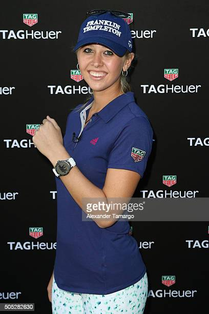 Pro golfer Jessica Korda attends Tag Heuer And Golf Digest Host 'The Jessica Korda Mall Challenge' at Miami Design District Palm Court on January 16...