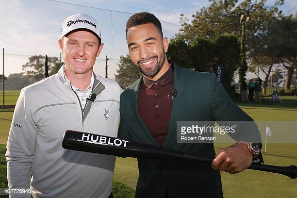 Pro golfer Justin Rose and San Diego Padres' Matt Kemp stand during an event where Hublot announced Rose as a brand ambassador at Torrey Pines Golf...