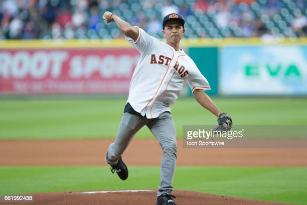 Pro golfer Rickie Fowler throwing the first pitch before the start of an MLB spring training game between the Houston Astros and the Chicago Cubs on...