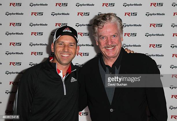 Pro golfer Sergio Garcia and actor Christopher McDonald attends the Northern Trust Open & TaylorMade Golf first ever drive-in movie on the driving...