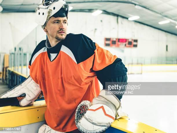 pro hockey keeper - doelman ijshockeyer stockfoto's en -beelden