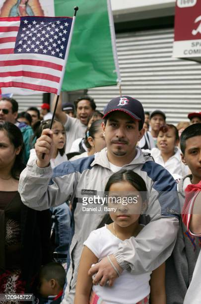 Pro Immigration demonstrators gather during a rally as part of the Day Without Immigrants national protest on May 1 2006 in the Brooklyn New York...