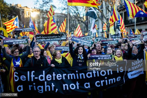 """Pro independence people demonstration agains the """"judgement of ideas"""" to Catalan political leaders in prision by the Spanish courts in..."""