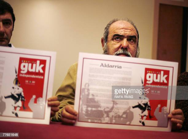 Pro independence political party Basque Nationalist ActionANV leader Kepa Bereziartua shows a copy of ANV's manifiesto 'Guk Euskal Nazioa...