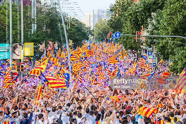 Pro independence rally in Barcelona with crowd
