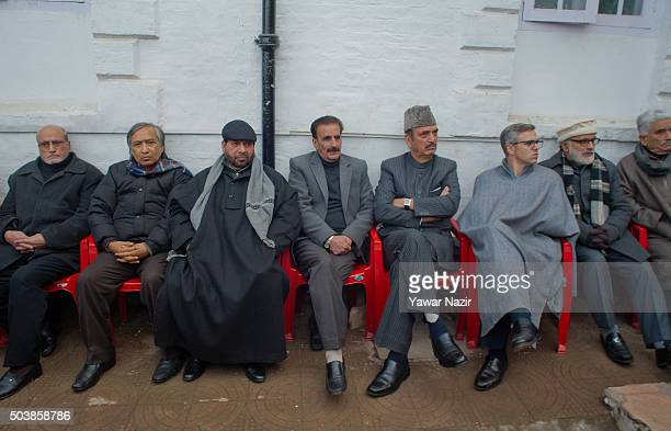 Pro Indian Ministers attend the funeral of pro Indian Jammu and Kashmir Chief Minister Mufti Mohammad Sayeed during his funeral, on January 07, 2016...