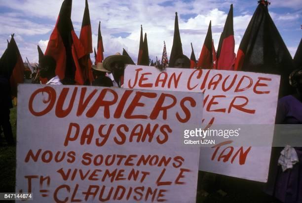 Pro JeanClaude Duvalier demonstration in 1978 in PortauPrince Haiti