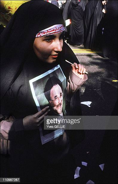 Pro Khatami meeting during the anniversary of the detention of the American's hostages during the Iranian revolution in Iran in 2003.