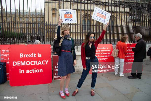 Pro leave supporters hold up placards stating '' Lets go WTO'' and '' Leave means Leave'' on the day after Parliament voted to take control of...