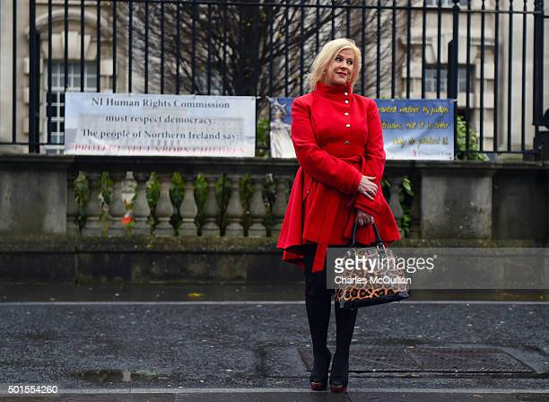 Pro Life activist Bernie Smyth stands outside Belfast Magistrates' Court following Mr Justice Horner's landmark ruling on the issue of abortion on...