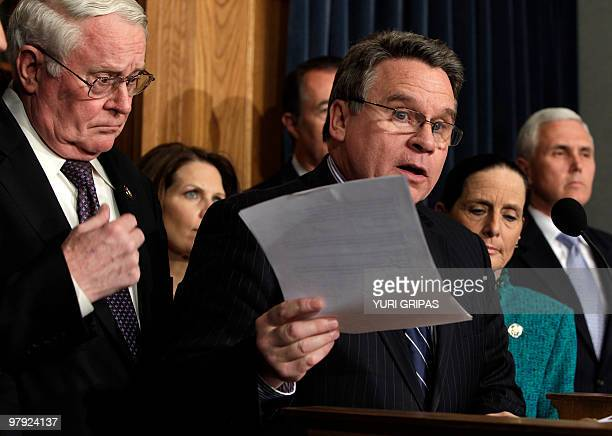 Pro Life Republican congressman Christopher Smith speaks during a news conference on health care reform on Capitol Hill in Washington March 21 2010...