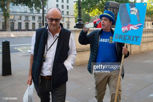 Pro remain campaigner Steve Bray interviews Dominic Cummings as he arrives at the Cabinet office in LondonUnited Kingdom on 22nd August 2019