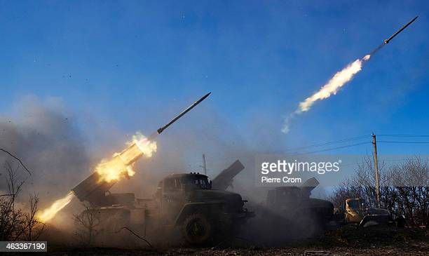 Pro Russian rebels fire grad rockets on Ukrainian positions under orders of Olga Sergeevna also known as Corsa on February 13 2015 in Debaltseve...