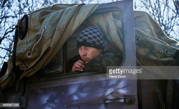 Pro Russian rebels prepare an artillery attack on Ukrainian positions under orders of Olga Sergeevna, also known as Corsa, on February 13, 2015 in...